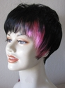 Black with pink Synthetic Wig