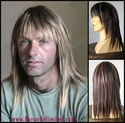 Straight Razor Cut <br> Synthetic Man's Long Wig