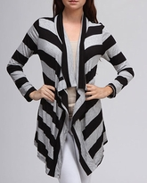 Black and Grey Striped Maternity Cardigan