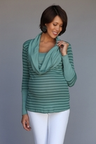 Otto Striped Cowl Neck Maternity and Nursing Top - more colors
