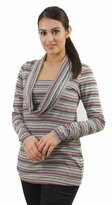 Striped Cowl Neck Maternity and Nursing Tunic