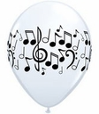 "11"" Qualatex Music Note Latex Balloons White 50ct"