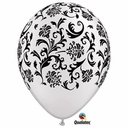 "11"" Damask Balloons Pearl White With Black Print 50 per bag"