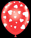 "11"" Red Round Latex White Hearts Latex 50 bag"