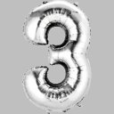 "16"" Mini Silver Foil Number Air Fill Balloons"