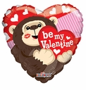 "18"" Be My Valentine Monkey Helium Foil Balloon 1ct"