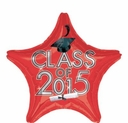 """18"""" Class Of 2015 Red Star Shape Helium Foil Balloon 1 per pack"""
