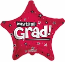 "18"" Graduation Foil Balloon Red Star Congrats Grad 1 per pack"