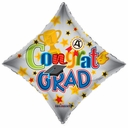 "18"" Congrats Grad Diamond Shape Helium Balloon 1-per Pack"