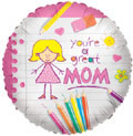 "18"" Great Mom Mylar Balloons"