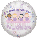 "18"" Happy Birthday Princess Ballerinas Foil Helium Balloon 1 Per Pack"