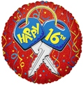 "18"" Happy 16th Birthday Helium Foil Balloons"