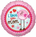 "18"" I Love Mom Clear View 1pk"