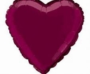 "18"" Metallic Burgundy Heart 10 pk"