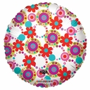 "Round Foil balloons with Flower & Circle Print 18"". 1 per pack"