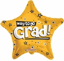 "18"" Way to Go Grad Gold Star 10pk"