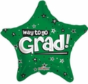 "18"" Way To Go Grad Green Star Helium Foil Balloon 1 per Pack"