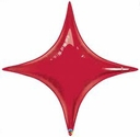 "20"" Qualatex Ruby Red Star Point Air Fill Foil Balloon"
