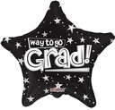 "18"" Way To Go Grad Black Star Shape Helium Balloon 1 per pack"