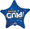 "18"" Way To Go Grad Blue Star Shape Helium Balloon 1 per pack"