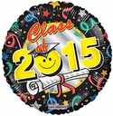 "18"" Class Of 2015 Smiley Face Graduation Helium Balloon 1 per pack."