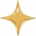 "Star Point Balloons 20"" Gold Star Point Balloons AIR FILL ONLY"