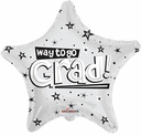 "18"" Way to Go Grad White Star Shape Helium Foil Balloon 1 Per PAck"