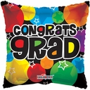 "18"" Graduation Retro Square Shape Helium Foil Balloon 1 per pack"