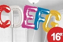 Mini Foil Letter Balloons in Assorted Colors. DO NOT FLOAT. DO NOT FILL WITH HELIUM. WILL NOT FLOAT.