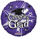 "18"" Congrats Grad Purple Helium Balloon 1 per pack"