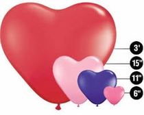 Heart Shaped Latex Balloons by Qualatex