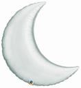 "35"" Silver Crescent Moon Foil Balloon 1ct"