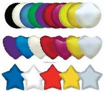 Mylar Balloons Solid Colors Star-Heart-Circles