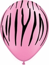 "11"" Zebra Stripes on Neon Pink Pink Balloons 50 Bag"