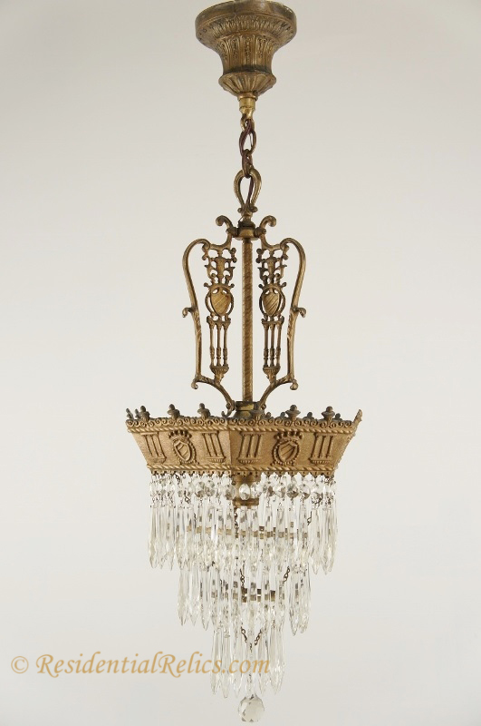 Antique 3 Tiered Classical Crystal Chandelier Circa 1910s
