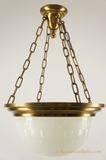 4-chain brass ring chandelier with inverted glass dome, circa 1910