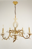 5-candle Italian alabaster chandelier with white porcelain roses, circa 1940s