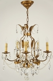 5-candle Italian leaf and cut crystal chandelier, circa 1940s