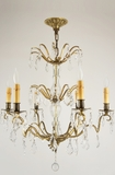 6-candle French style pendalogue crystal chandelier, circa 1920s