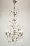 9-candle nickel plated cut crystal chandelier, circa 1930s