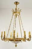 10-candle gilt bronze and cut crystal chandelier, circa 1930s