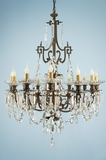 12-candle cast bronze Victorian crystal chandelier (ca. 1880s)