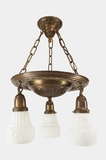 3-light embossed brass chandelier with embossed oak leaf shades, circa 1920s