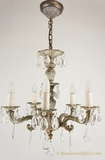 5-candle whitewashed brass and crystal chandelier, circa 1940s