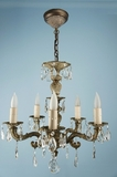 5-candle brass and crystal chandelier <NOBR>(ca. 1940s)</NOBR>