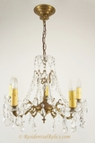 5-candle cast brass and cut crystal chandelier, circa 1930s