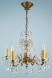 5-candle cast brass and crystal chandelier <NOBR>(ca. 1930s)</NOBR>