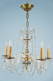5-candle crystal chandelier with glass arms <NOBR>(ca. 1940s)</NOBR>