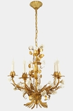 5-candle gilt Italian chandelier with porcelain roses, circa 1940s