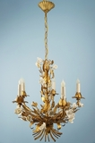 5-candle gilt Italian chandelier with porcelain roses <NOBR>(ca. 1940s)</NOBR>